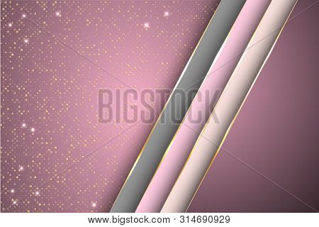 Gold Halftone Dots And Inclined Ribbon Stripes Banner Vector Design. Rich Banner Background Template