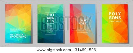 Facet Triangles Cool Banners, Posters, Flyers Vector Graphic Design Set. Crystal Texture Polygonal P