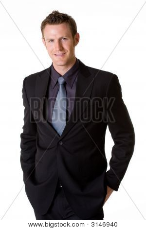 Caucasian Man Smilling Wears Formal Business Attire