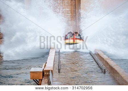 Orlando, Florida. July 25, 2019. People Having Fun Journey To Atlantis, With Spectacular Splashing A