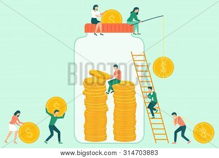 People Character Saving Coins In Jar, Attraction And Accumulation Of Capital. Man And Woman Catching
