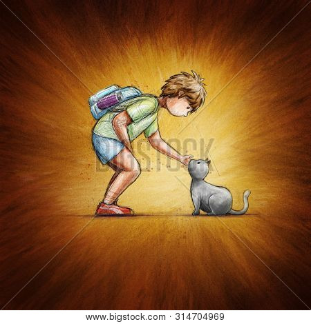 Little school boy and cat. Friendship concept illustration.