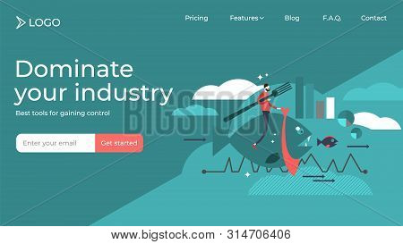 Dominate Your Industry And Beat The Competition Flat Vector Illustration Sales And Marketing Landing