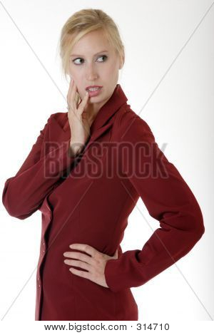 Woman With Finger On Lip