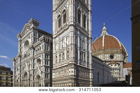 Florence Cathedral Facade Detail And Brunelleschi's Dome