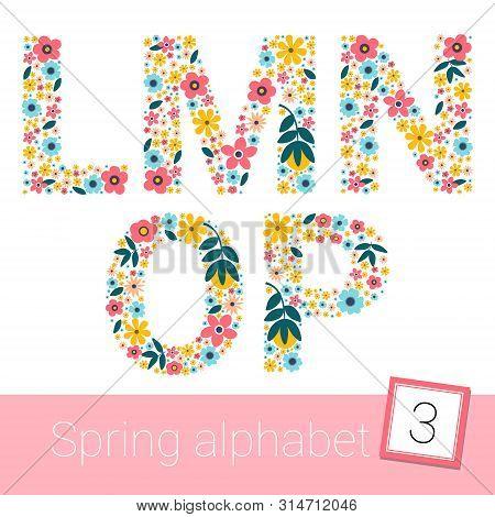 Retro Spring Flower Alphabet Uppercase. Vector Illestration. L M N O P