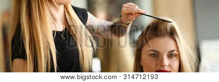 Professional Hairdresser Combing Girl Client Hair. Young Hairstylist Making Haircut with Hairbrush for Female with Long Blonde Hairstyle. Beautician Styling Fashionable Hairdo in Beauty Salon poster