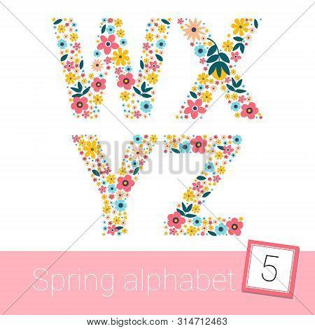 Retro Spring Flower Alphabet Uppercase. Vector Illestration. W X Y Z