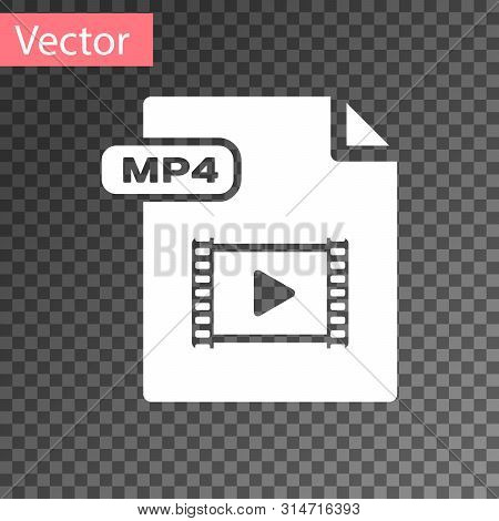 White Mp4 File Document. Download Mp4 Button Icon Isolated On Transparent Background. Mp4 File Symbo