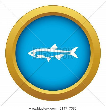 Herring Fish Icon Blue Vector Isolated On White Background For Any Design
