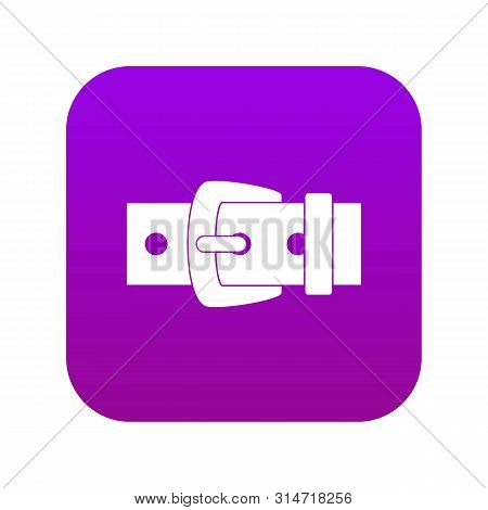 Black Metal Belt Buckle Icon Digital Purple For Any Design Isolated On White Vector Illustration