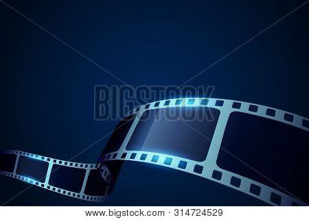 Cinema Blue Background With Film Reel. Realistic 3d Film Strip In Perspective. Design Template Film