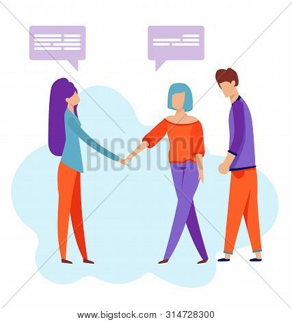 Friends Meeting. Flat Cartoon Chatting People Characters Vector Illustration. Two Woman Shaking Hand