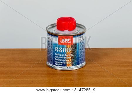 Pruszcz Gdanski, Poland - May 15, 2019: App (auto-plast Product) R Stop Anti-corrosion Agent.