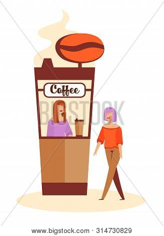 Elegant Woman Character Buying Coffee At Coffee-box Before Romantic Dating. Coffee-shop With Female