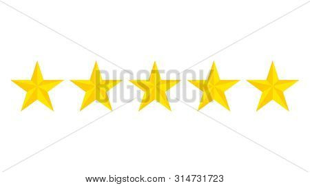 Five Star Rating Icon.evaluation Hotel Of 5 Gold Stars. Flat Yellow Stars On Isolated Background. Ve