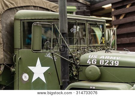 Doncaster, Uk - 28th July 2019: A Close Up Of A Green And Brown M35 Army Cargo Truck Used During Wor
