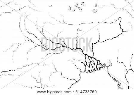 World Map Of The Ganges River Valley & Delta: Ganges River And Brahmaputra River, And Their Delta, I