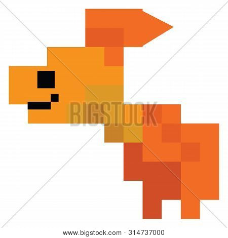 Cute 8 Bit Pet Goldfish Vector Illustration. Fish Sealife Clipart. Pixel Ocean Animal.
