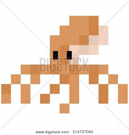 Cute 8 Bit Octopus Illustration. Retro Game Sealife Vector. Pixel Cephalopod Clipart.