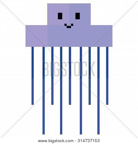 Cute 8 Bit Jellyfish Illustration. Retro Game Sealife Vector. Pixel Tentacle Clipart.