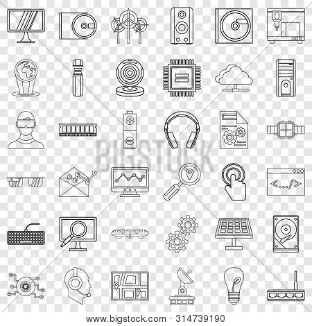 Hitech Icons Set. Outline Style Of 36 Hitech Vector Icons For Web For Any Design