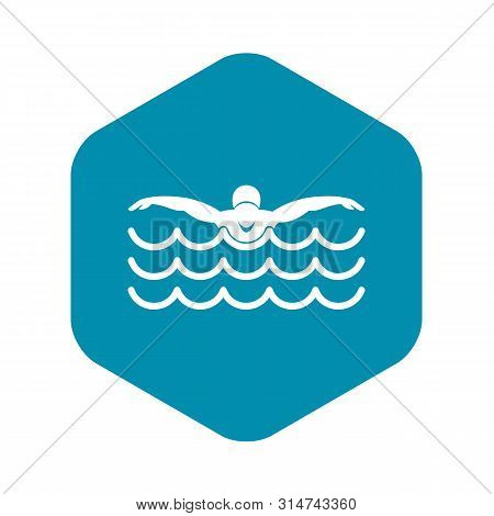 Butterfly Swimmer Icon. Simple Illustration Of Butterfly Swimmer Vector Icon For Web