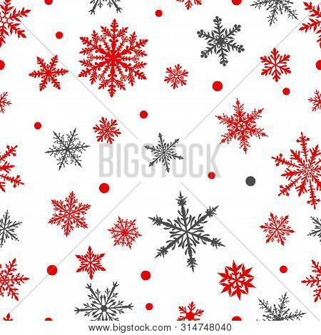 Christmas Seamless Pattern Of Complex Big And Small Snowflakes In Red And Gray Colors On White Backg