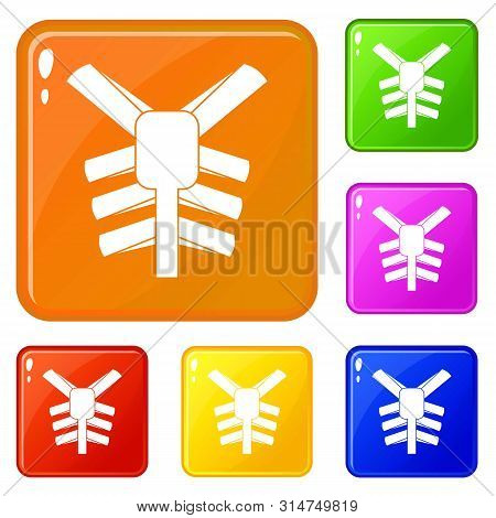 Human Thorax Icons Set Collection Vector 6 Color Isolated On White Background