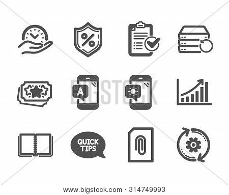 Set Of Technology Icons, Such As Weather Phone, Loan Percent, Cogwheel, Loyalty Points, Book, Ab Tes