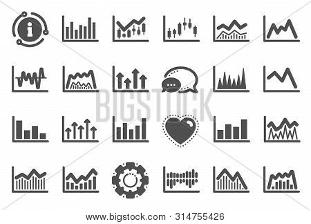 Financial Chart Icons. Set Of Candle Stick Graph, Report Diagram And Infochart Icons. Growth, Trade