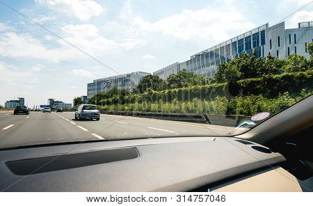 Paris, France - Jul 15, 2019: View From The Car At Wide Office Buildings Headquarters With Sfr Logot