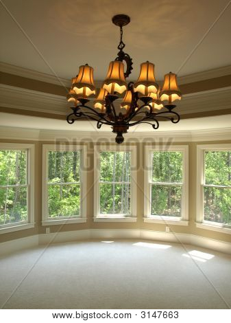 Luxury Model Home Round Master Bedroom With Light