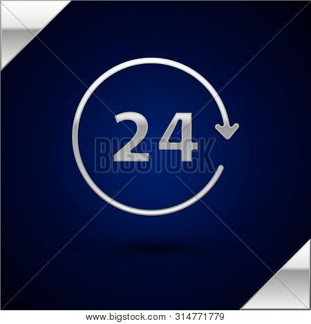 Silver Clock 24 hours icon isolated on dark blue background. All day cyclic icon. 24 hours service symbol. Vector Illustration poster