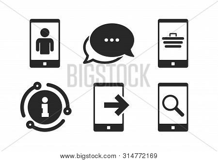 Smartphone Video Call Sign. Chat, Info Sign. Phone Icons. Search, Online Shopping Symbols. Outcoming