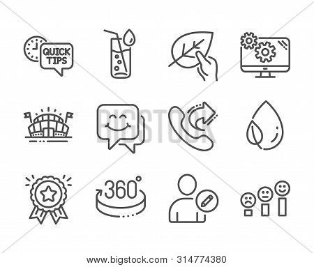 Set Of Business Icons, Such As Sports Arena, Edit User, Quick Tips, Organic Tested, Smile Face, Sett