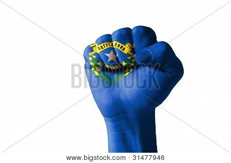 Fist Painted In Colors Of Us State Of Nevada Flag