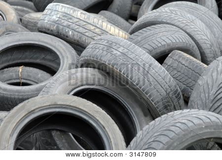 Used Tires Waiting For Recycling