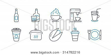 Set Of Food And Drink Icons, Such As Takeaway, Beer, Pistachio Nut, Whiskey Glass, Takeaway Coffee,