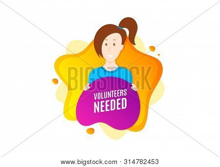 Volunteers Needed. Cut Out People Badge. Volunteering Service Sign. Charity Work Symbol. Dynamic Sha