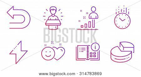 Time, Smile and Brand ambassador line icons set. Energy, Undo and Instruction info signs. Stats, Pie chart symbols. Clock, Social media like. Technology set. Gradient time icon. Vector poster