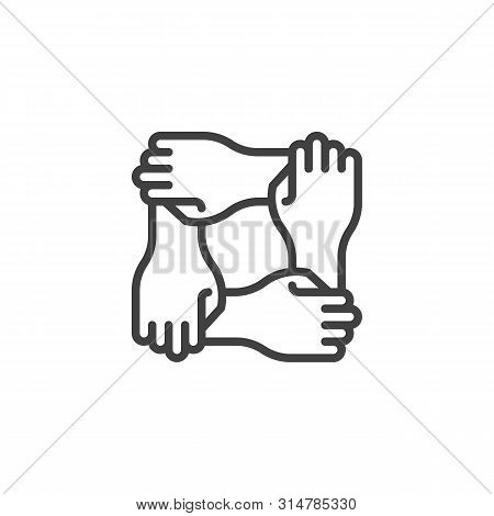 Solidarity Hands Line Icon. Linear Style Sign For Mobile Concept And Web Design. Four Hands Hold Tog