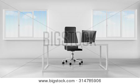 Empty Office Room Interior, Workplace With Desk, Turning Seat And Computer On Table, Inner Design In