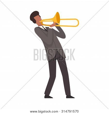 Young Man Playing Trombone Male Jazz Musician Character In Elegant Suit With Musical Instrument Vect