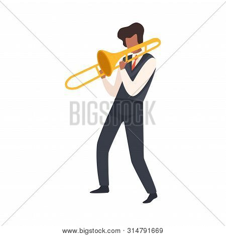 Man Playing Trombone, Male Jazz Musician Character In Elegant Clothes With Blow Musical Instrument V