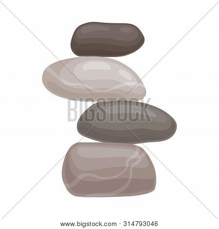 Four Cobblestones Lie On Each Other. Vector Illustration On White Background.