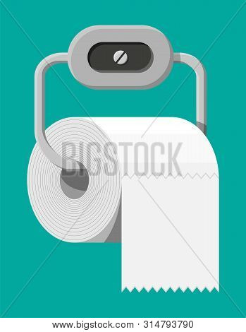 White Roll Of Toilet Paper On Holder. Hank Of Paper For Toilet. Vector Illustration In Flat Style