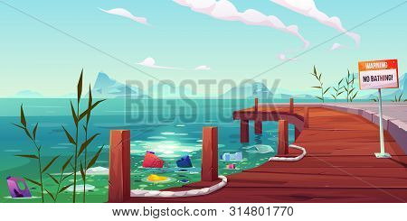 Plastic Garbage, Ecology, Water Pollution Problem, Litter Floating In River Or Lake Near Empty Pier