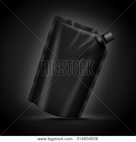 Vector 3d Realistic Luxury Dark Doy Pack, Isolated On Black Background. Mock-up For Product Package