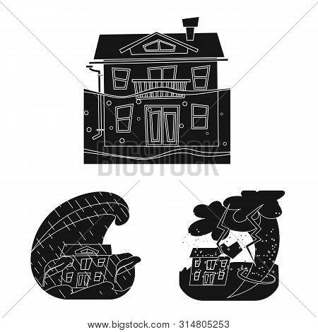 Vector Illustration Of Calamity And Crash Sign. Set Of Calamity And Disaster Vector Icon For Stock.